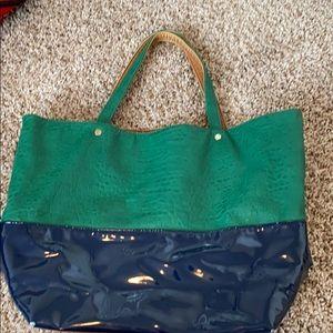 Deux Lux Handbag Blue Green Tan